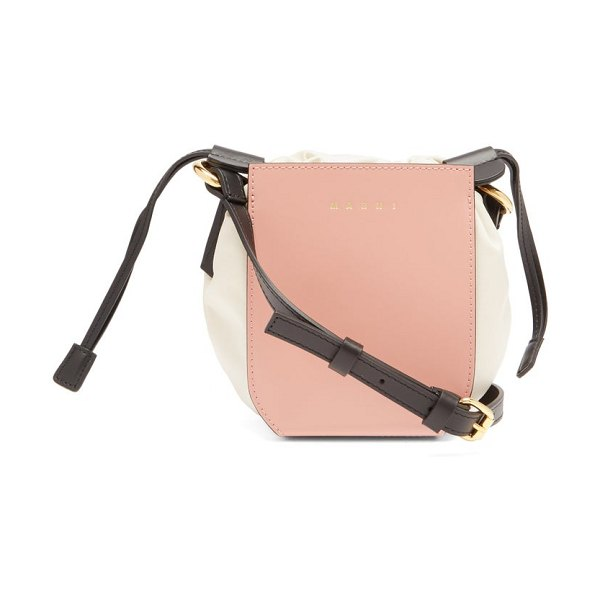 Marni gusset small leather bucket bag in pink multi