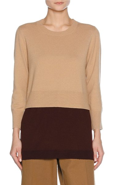 Marni Layered Virgin Wool-Cashmere Sweater in neutral - Marni sweater with trompe l'oeil layered hem. Finely...