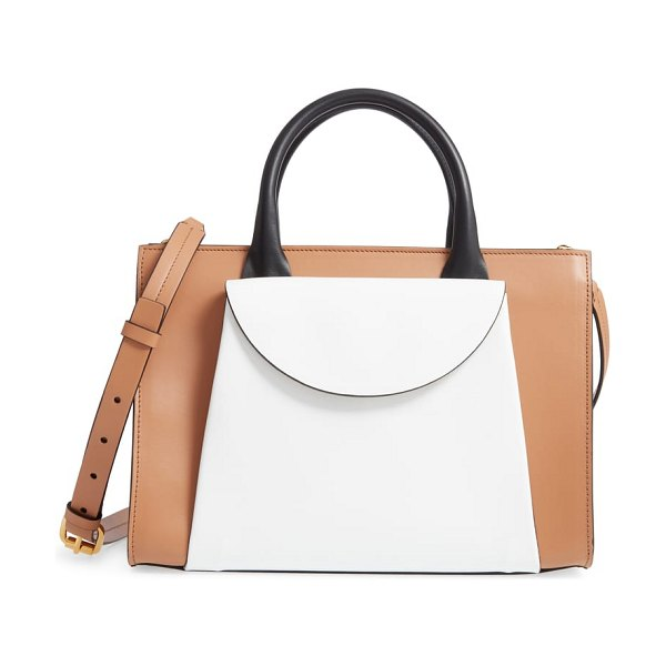 Marni medium law colorblock top handle satchel in brown