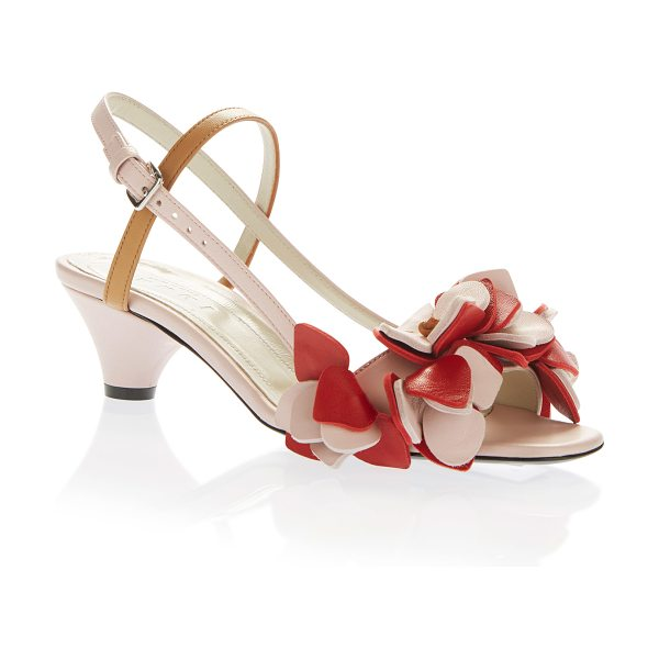 Marni Ruffle Sandal in pink - This *Marni* sandal is rendered in leather and features...