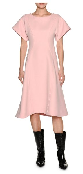 Marni Short-Sleeve Crepe A-Line Swing Dress in light pink - Marni swing dress in double-face crepe. Round neckline....