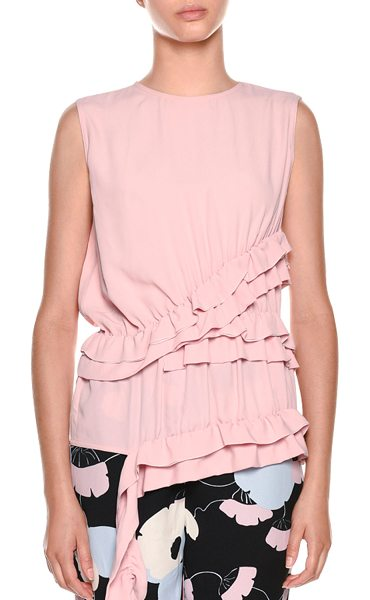 Marni Sleeveless Ruffled-Waist Silk-Woven Blouse in blush - Marni blouse in silk-woven blend. Ruffled frills at...