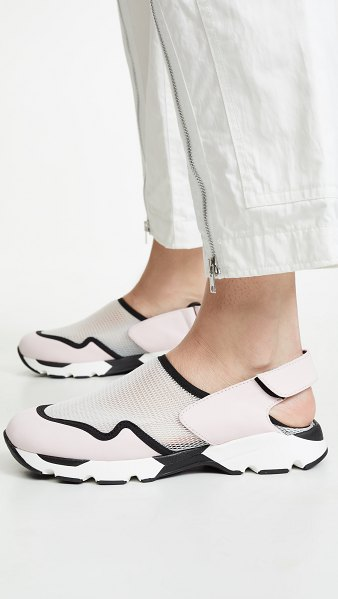 Marni slingback sneakers in ivory/light pink - Fabric: Mesh Leather: Sheepskin Sneaker silhouette Flat...