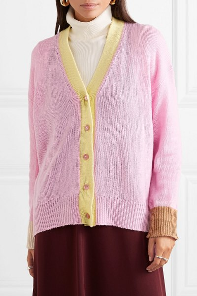 Marni striped cashmere cardigan in pink - Marni's cardigan is knitted for a relaxed fit from pink...