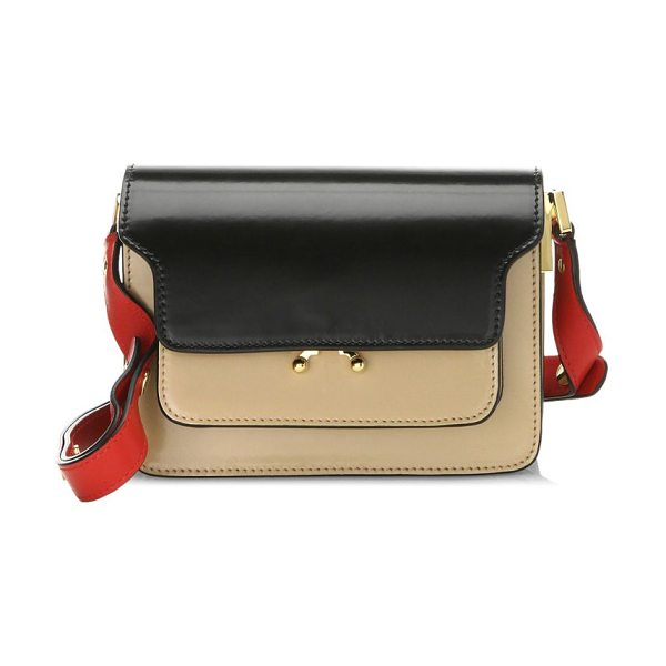 Marni trunk leather shoulder bag in black dune