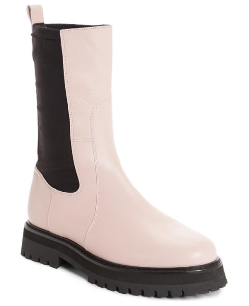 MARQUES ALMEIDA army boot in pale pink - Sleek stretch-suede panels create a custom fit for a...