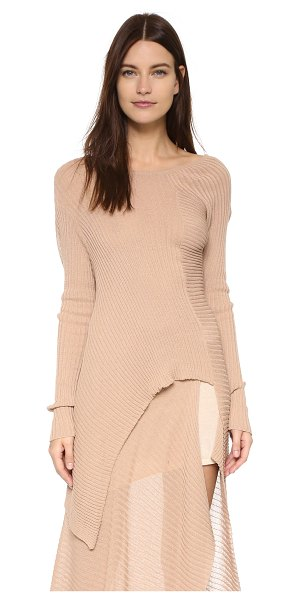 MARQUES ALMEIDA Deconstructed off shoulder sweater in beige - A deconstructed Marques Almeida sweater in airy ribbed...