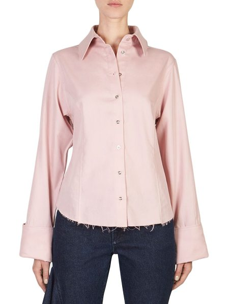 MARQUES ALMEIDA frayed button-front shirt in pale pink - Casual button-front cotton shirt featuring frayed hem...