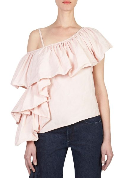 MARQUES ALMEIDA one-shoulder ruffle top in pale pink