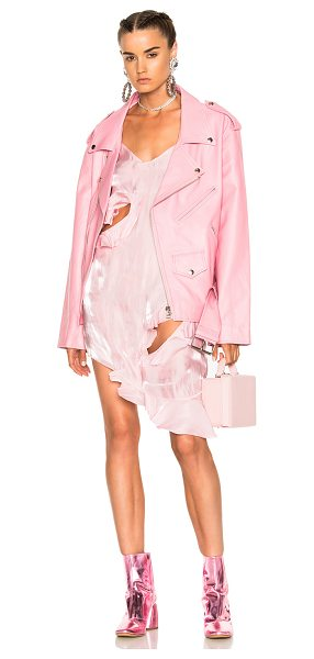 MARQUES ALMEIDA Oversized Biker Jacket in pink - Self: 100% leatherLining: 100% viscose. Made in...