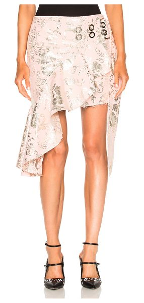 MARQUES ALMEIDA Short Wrap Brocade Skirt in pink & silver - 46% cotton 42% poly 12% metallic polyLining: 60% acetate...