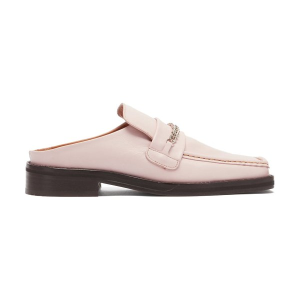 MARTINE ROSE curb-chain square-toe leather loafers in light pink
