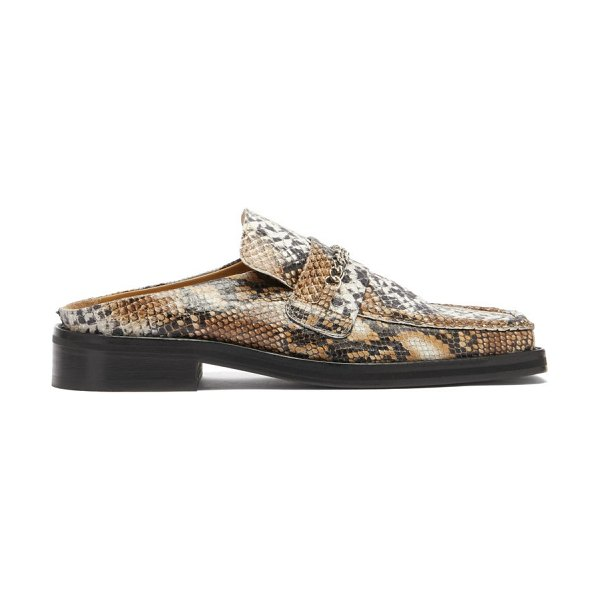 MARTINE ROSE curb-chain square-toe snake-effect leather loafers in beige multi