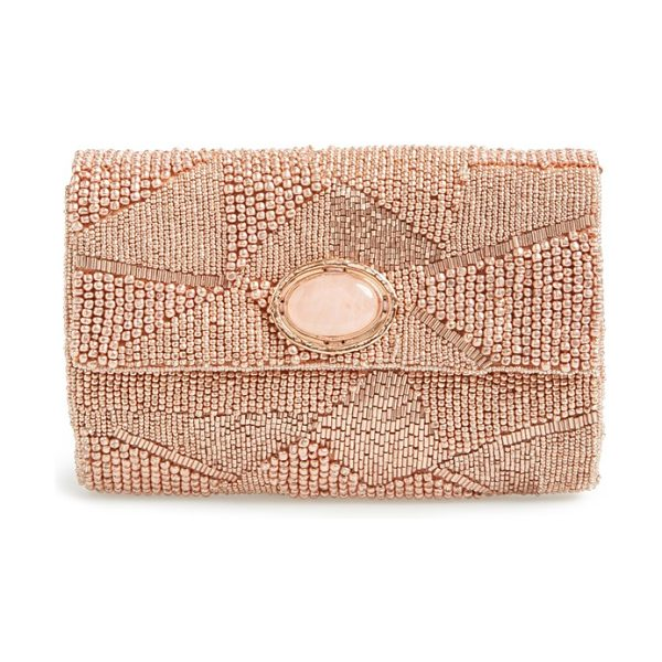MARY FRANCES Beaded clutch in rose - An exquisite envelope clutch is alight with geometric...