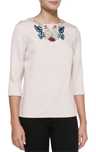 Mary Katrantzou Embroidered-neck blouse in pink - Blouse by Mary Katrantzou. Round neckline with...