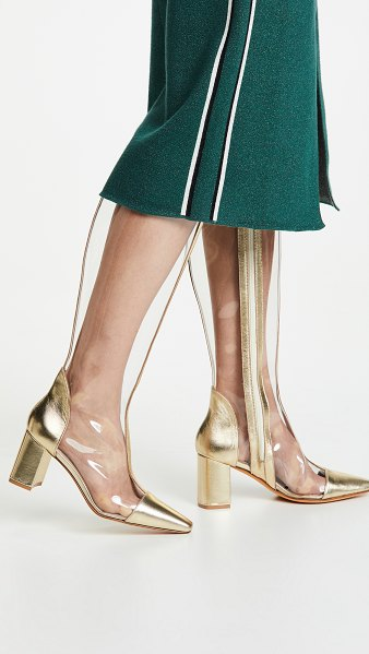 Maryam Nassir Zadeh jupiter boots in clear/gold - Fabric: Clear PVC Leather: Calfskin Metallic trim Chunky...