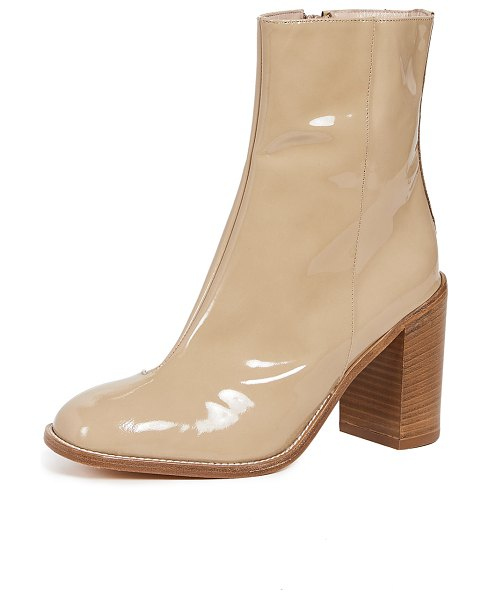 Maryam Nassir Zadeh stella booties in khaki - Leather: Calfskin Glossy patent leather Stacked heel...