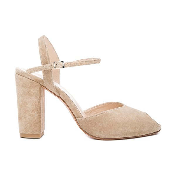 Maryam Nassir Zadeh Suede Iris Heels in neutrals - Suede upper with leather sole.  Made in Turkey.  Approx...