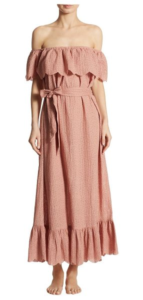 Marysia Swim off-the-shoulder linen dress in pink - Perforated linen dress finished with ruffled overlay....