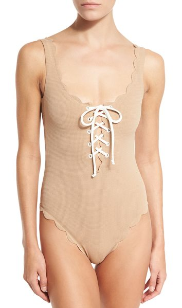 "Marysia Swim Palm Springs Scalloped Lace-Up Maillot in beige - Marysia ""Palm Springs"" one-piece swimsuit in solid..."