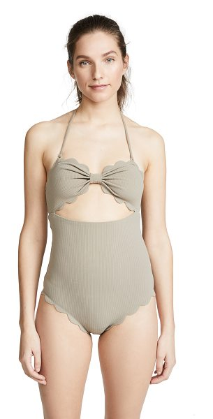 Marysia Swim antibes maillot in stone - Scalloped edges Crosshatch fabric Optional halter strap...