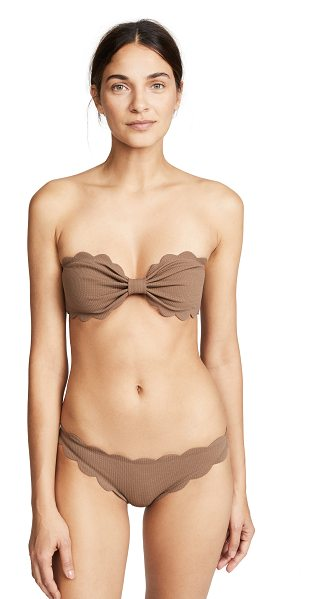 290bec68166f8 Marysia Swim antibes top in toffee - Scalloped edges Crosshatch texture  Bandeau top Buckle at.