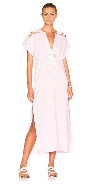 Marysia Swim FWRD Exclusive Caftan Dress in pale pink - 100% cotton. Made in China. Unlined. Lace up detail on...