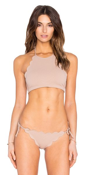 Marysia Swim Mott Bikini Top in taupe - Polyamide blend. Hand wash cold. Halter strap ties...