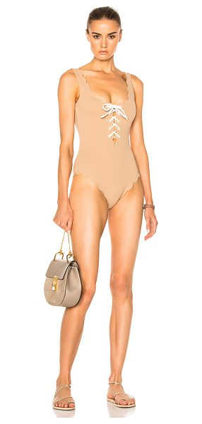 Marysia Swim Palm Springs Tie Swimsuit in neutrals - 88% polyamide 12% elastan.  Made in China.  Hand wash. ...