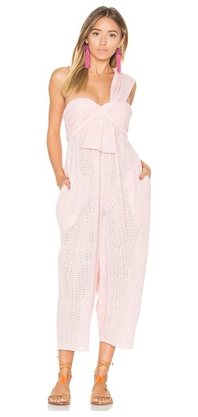 MARYSIA SWIM Venice Jumpsuit in pink - 100% cotton. Hand wash cold. Smocked back panel. Body...