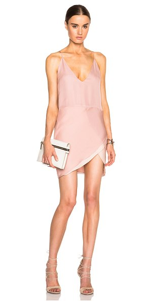 Mason by Michelle Mason Mason by  Contrast Slip Dress in pink - 100% silk.  Made in China.  Fully lined.  fabric overlay...