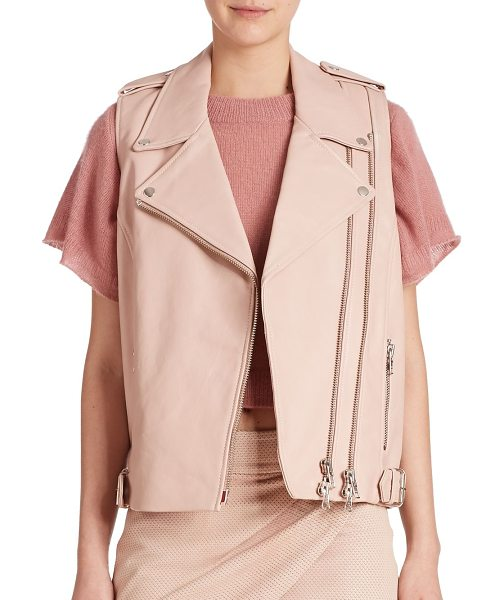 Mason by Michelle Mason Moto leather vest in petal - Cut from supple leather, this motorcycle-insired vest,...