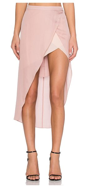 Mason by Michelle Mason Skirt with Contrast Slip in blush - 100% silk. Dry clean only. Fully lined. Asymmetric hem....