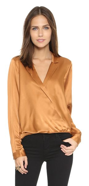 Mason by Michelle Mason Wrap shirt in copper - Notched lapels frame the crossover V neckline on this...