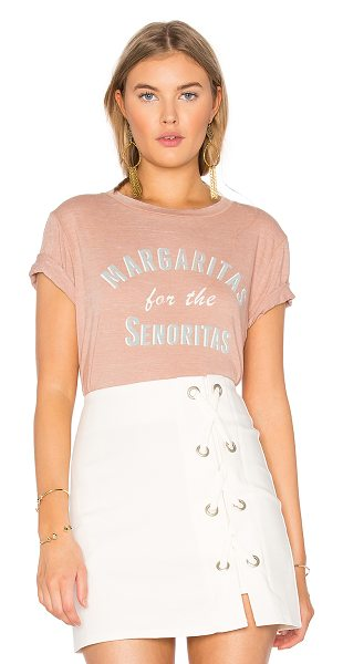 MATE the Label Beau Crew Margaritas For the Senoritas Tee in blush - 50% poly 38% cotton 12% rayon. Screen print graphics....