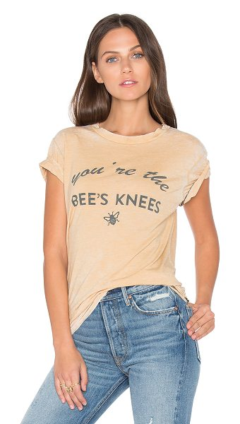 MATE the Label Bees Knees Beau Tee in tan - Cotton blend. Screen print graphics. Intentional fading...