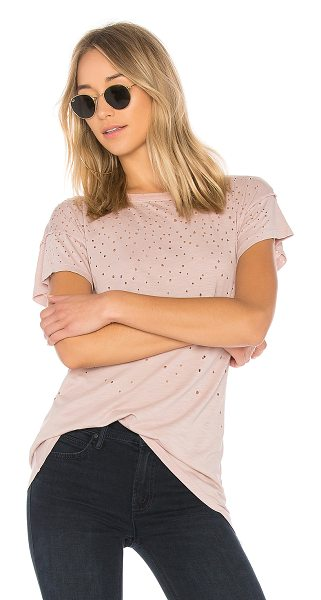 MATE the Label Kat Tee Distressed in rose - Cotton blend. Burnout fabric. Intentional holes...