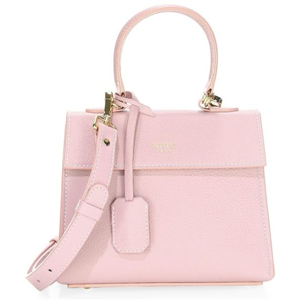 Mateo New York the elizabeth mini leather satchel in pink - Structured satchel in luxurious nappa leather. Magnetic...