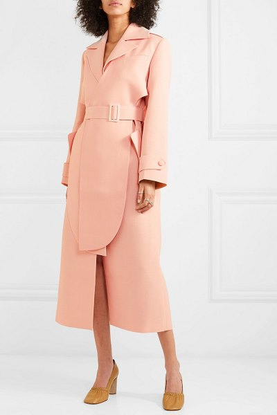 MATÉRIEL layered belted twill trench coat in blush