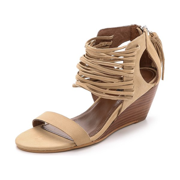Matiko Bryn strappy wedges in natural - Skinny strands accent the upper of these soft leather...