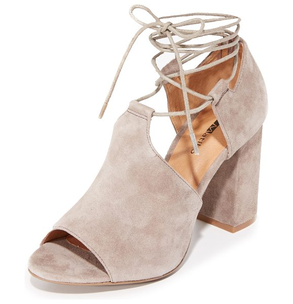 Matiko cherine sandals in taupe - Velvety suede Matiko sandals styled with a scalloped top...