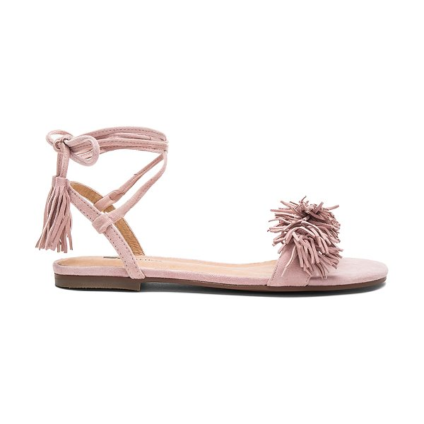 Matiko Delilah Sandal in blush - Suede upper with man made sole. Wrap ankle with fringed...