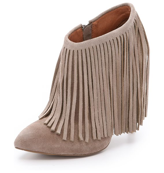 Matiko Kacie suede fringe booties in taupe - Draped fringe surrounds the cuff of these suede Matiko...