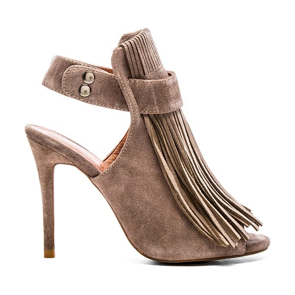 Matiko Lainey heel in taupe - Suede upper with man made sole. Fringe detail. Snap...