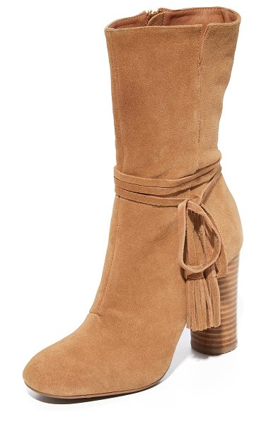 MATIKO miranda tassel boots in sand - Tasseled straps accent the notched shaft on these smooth...