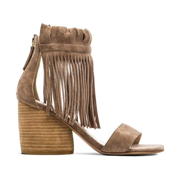 "Matiko Morgan Fringe Sandal In Taupe in taupe - Suede upper with man made sole. Heel measures approx 3""""..."