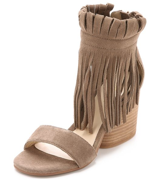 Matiko Morgan fringe suede sandals in taupe - A chunky, stacked heel lends stable lift to suede Matiko...