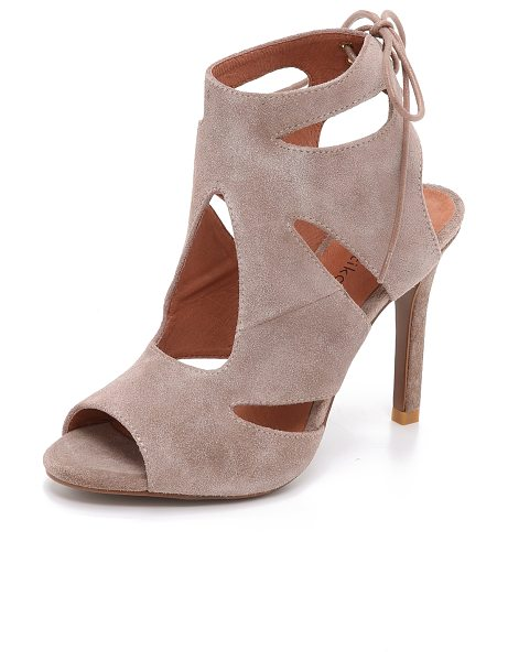 Matiko Octavia suede cutout sandals in taupe