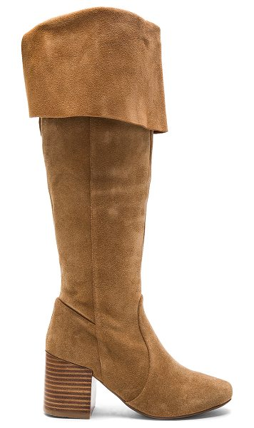 MATIKO Sonya Boots in tan - Suede upper with man made sole. Side zip closure....
