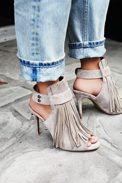Matiko Stardust fringe heel in taupe - Suede stiletto mules with statement fringe and open...